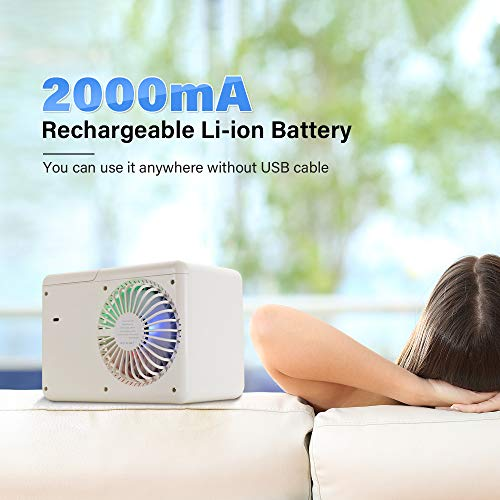 Portable Air Conditioner,Cordless Evaporative Personal Air Cooler with LED Night Light,TOPLANET Mini Desktop Fan by Rechargeable 2000mAh Li-ion Battery for Home,Office And Room,3 Speeds