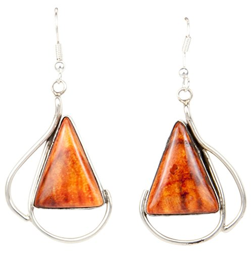 Navajo Native American Orange Spiny Shell Earrings by Scott Skeets - Orange Spiny Shell