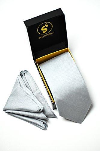 SEXYSANDBOX - Corbata de seda y bolsillo cuadrado para hombre, 2 piezas, en caja de regalo, Relax Gray, Medium