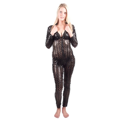 I-Glam Sexy Bodysuit Costume Gothic Rihanna Celebrity Hole Punch Catsuit Black S/M