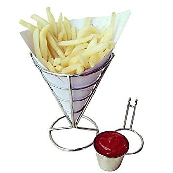 Soporte para fritos/cesta con bandeja para servir salsas, plato de acero inoxidable para fiestas, para conos, frutas, palomitas y verduras: Amazon.es: Hogar