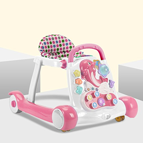 nction Anti-Rollover Male Baby Female Baby Learning to Walk Children's Toys Baby Walking Stroller (Color : Pink) ()