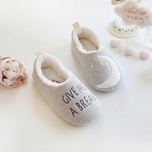 Fortuning's JDS Donne delle signore delle ragazze Accogliente cotone Casa Calzature Grigio asimmetrico confortevole avvolgere pantofole