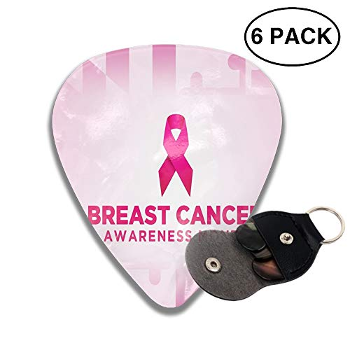 Breast-Cancer-Awareness-Month Guitar Picks Various Rock Bands Collection 0.46mm 0.71mm And 0.96mm, 6pcs ()
