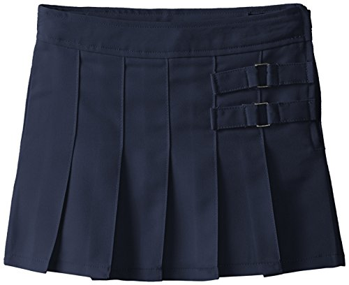 French Toast Little Girls' Toddler Two-Tab Pleated Scooter, Navy, 4T