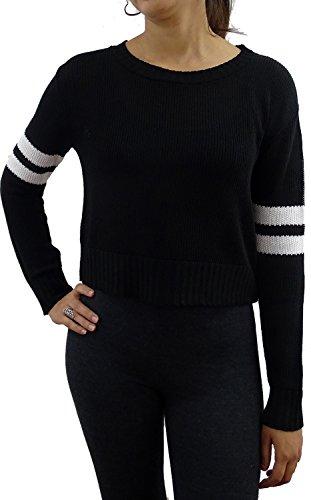 Blend Striped Crewneck Sweater (Serendipity Women's Varsity Striped Sleeve Crewneck Pullover Sweater (Black/White, Medium))