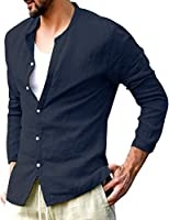 Pacinoble Men Linen Henley Shirts Long Sleeve Basic Yoga Top Casual Blouse Summer Beach Henley Shirts Tee