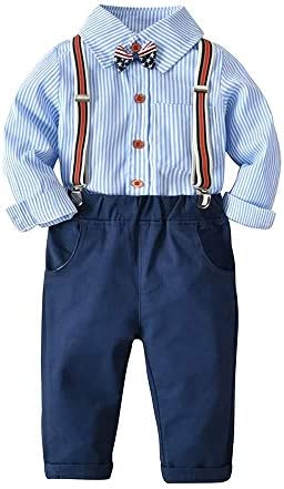 ベビーボーイツーピースセット、蝶ネクタイストライプ長袖シャツ+サスペンダーパンツ、1-4年#027