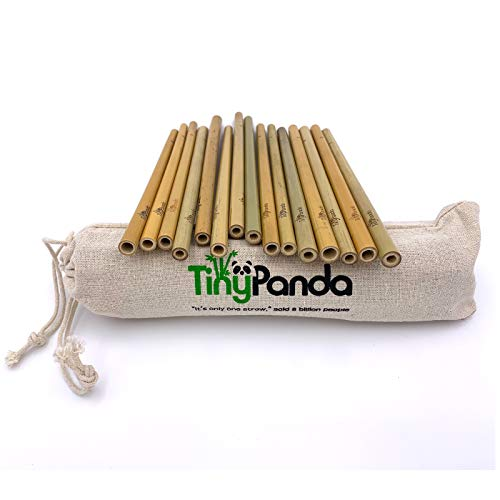 Reusable Bamboo Drinking Straws - Natural Organic Ecofriendly Straws - Set of 15 Straws - Strong and Durable - Including Travel/Storage Pouch - Tiny Panda