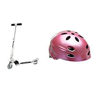 Razor A3 Kick Scooter, Clear, Frustration Free Packaging w/ Pink Helmet
