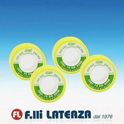 FACOT TEFLON DIN USO GAS NASTRO P.T.F.E PURO CONFEZIONE DA 4 PEZZI