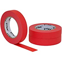 """3 pk 1"""" inch x 60yd STIKK Red Painters Tape 14 Day Clean Release Trim Edge Finishing Decorative Marking Masking Tape (.94 in 24MM)"""
