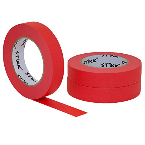 STIKK Red Painters Tape 14 Day Clean Release Trim Edge Finishing Decorative Marking Masking Tape (.94 in 24MM) ()