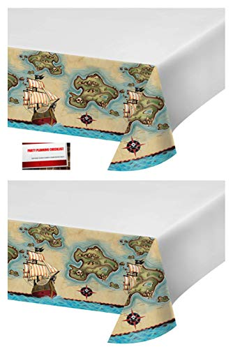 (2 Pack) Pirate's Pirate Map Plastic Table Cover 54 X 102 Inches (Plus Party Planning Checklist by Mikes Super Store) ()