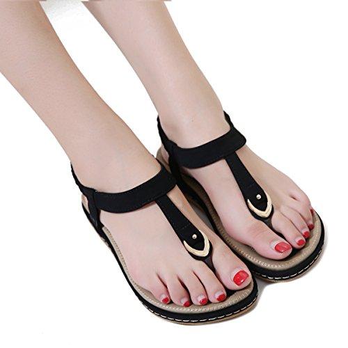 Nero Elastico Toe Romani Heel T Strap Sandali Clip Boho da Infradito Scarpe Spiaggia Wedge Sandali Infradito KUONUO Donna wtvYXxnT