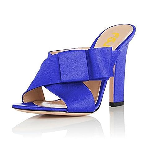 FSJ Women Open Toe Mule Sandals Slide Chunky High Heels with Bow Cross Strap Shoes Size 15 Blue - Cross Strap Bow