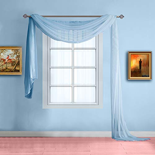 Warm Home Designs Standard Length Baby Blue Sheer Window Scarf. Valance Scarves are 56 X 144 Inches in Size. Great As Window Treatments, Bed Canopy Or for Decorative Project. Color: Baby Blue 144