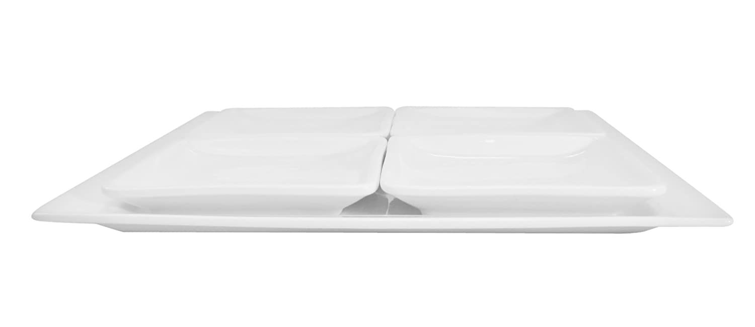 Box of 12 CAC China F-RP61 Paris-French Square 16-Inch by 7-Inch New Bone White Porcelain Thin Rectangular Platter
