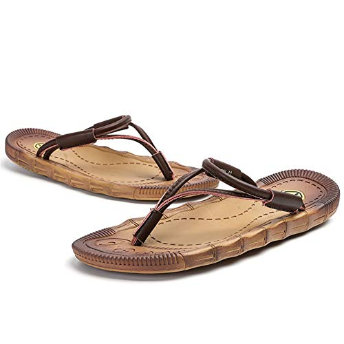 (Bulltendon Sole Sandals flip-Flop Slippers with Men's feet sandwiched and Anti-Skid Slippers,Brown,44-YU&Xin-YU&Xin)