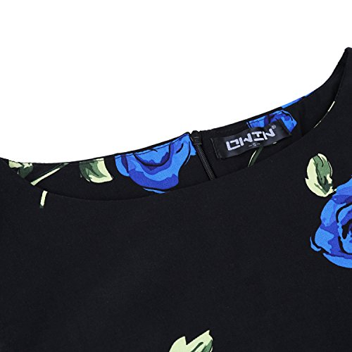 Owin Jardin De Printemps Floral De Cru Des Femmes 1950 Bal Swing Rockabilly Robe De Soirée Cocktail Noir Et Bleu
