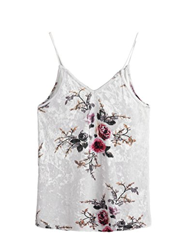 SheIn Women's Casual Basic Strappy Velvet V Neck Cami Tank Top Medium Floral Beige by SheIn (Image #1)