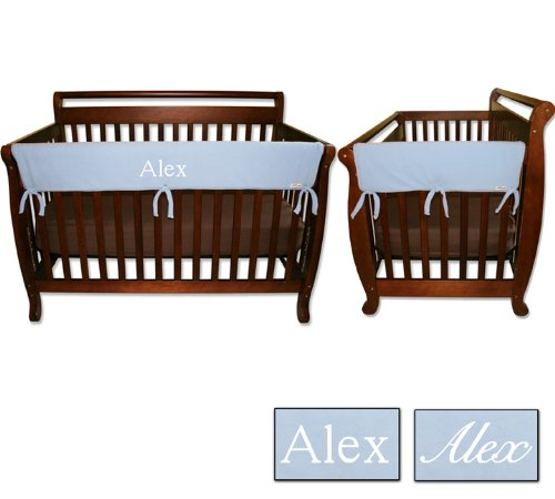 Personalized Embroidered Monogram or Name 3pc Trend Lab Crib Wrap Rail Guard Set, Blue ()