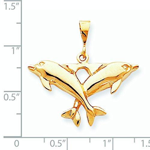 10 k massif poli-Double Charm dauphins de qualité supérieure Doré JewelryWeb or 9 carats