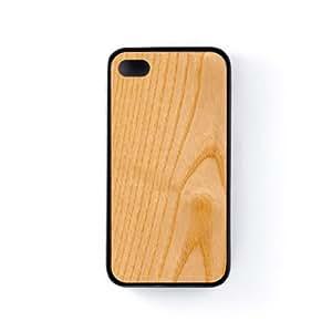 Realistic Light Wood Texture Funda Protectora Snap-On en Silicona Negra para Apple® iPhone 4 / 4s de UltraCases + Se incluye un protector de pantalla transparente GRATIS