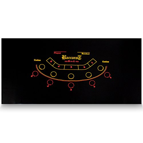 "72"" x 36"" Black Baccarat Casino Table Felt Layout by Brybelly"