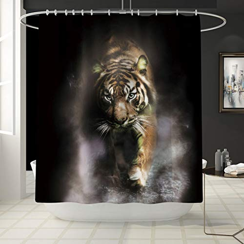 (KKKKA Shower Curtain 4 Pcs/Set Animals Wolf, Tiger, Peacock, Lion Shower Curtain Bath Rug Set Toilet Cover Bath Mat Set Bathroom Accessories Curtains)
