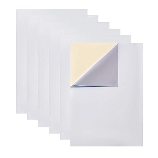 BENECREAT 25 PCS Etiqueta Adhesiva Pet de Plata Mate en Blanco A4 de 25 Micrones de Espesor, Apto para Impresora de Láser y Decoración 30x21cm