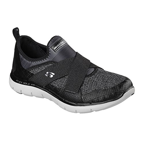 Skechers Womens Flex Appeal New Image Sneaker Nero / Grigio