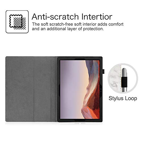 Fintie Case for Surface Pro 7 / Pro 6 - Premium Vegan Leather Slim Fit Folio Cover with Stylus Holder, Compatible with Microsoft Surface Pro 5 / Pro 4 / Pro 3 and Type Cover Keyboard (Marble)
