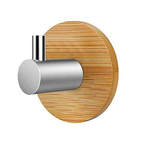 Tini Hangers&Hooks&Holders - Rustproof Natural Bamboo Hook Adhesive Stainless Steel Key Hanger Kitchen Bathroom Door Towel Shelf Decorative Wooden Hooks Rack 1 Pcs