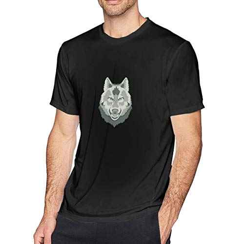 Men's Big Tall T-Shirt Printed Wolf Crewneck Athletic Short Sleeve for Youth Adult S-6XL Black