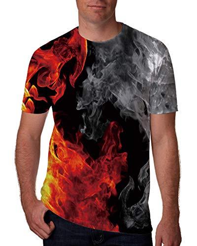 - Goodstoworld Mens Graphic Tees Rave Shirts Fire Flame Fog Ash Novelty 3D T-Shirts Hawaiian Shirts Beach Party Hip Hop Fitness Gymwear Short Sleeve Designer Tee Top Blouse Shirts XX-Large