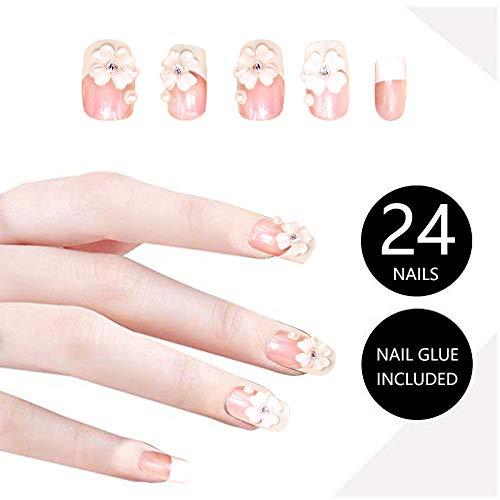 24Pcs 3D Bling Nail Art Jewelry Glitter Rhinestone Flower Decor Nail Tips Fake Nails,Faux Nails for Women