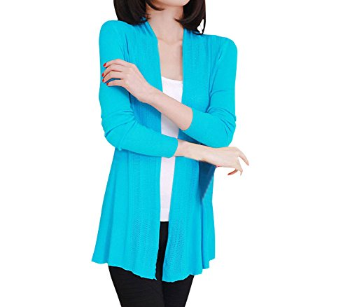 Shawhuaa Womens knitted Slim Fit Open Front Cardigan Sweater Shawl Blue