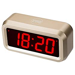 ChaoRong Small Wall/Shelf/Desk Digital Clock with 1.2 Large Display Battery Operated Only. 4pcs Batteries Can Keep The Time Display Day and Night for More Than One Year (Golden)