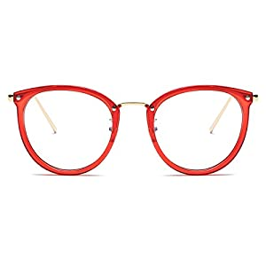 Amomoma Womens Fashion Clear Lens Round Frame Eye Glasses AM5001 Red Frame/Clear Lens