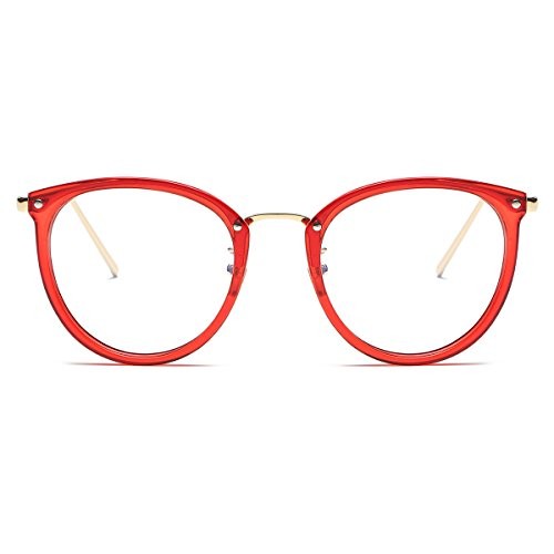 Amomoma Womens Fashion Clear Lens Round Frame Eye Glasses AM5001 Red Frame/Clear - Red Plastic Frames Eyeglass