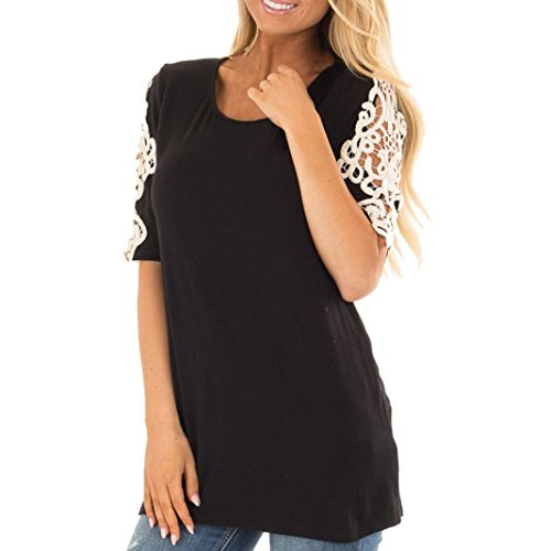 Crop Trimmed (Hometom Women Casual Blouse Lace Trimmed Short Sleeve O Neck Lace Patchwork Crop Top T-Shirt (Black, L))