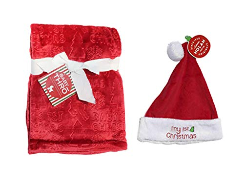 Baby's First Christmas Blanket and Toy Bundle (Santa Hat)