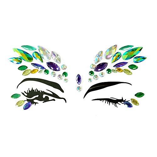 Gem Embellishment (Face Gems Women Rhinestone Tattoo Festival Jewels Eyes Temporary Tattoos Glitter Bindi Crystals Rainbow Tears Stickers Crystal Gem Stones for Face Body Festival Carnival & Embellishments (D))