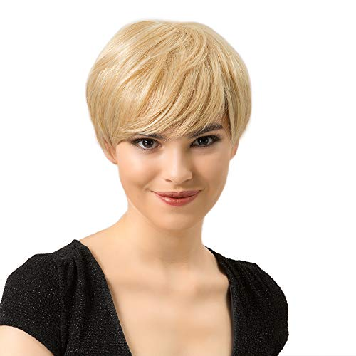 Emmor Short Blonde Human Hair Blend Wigs for Women Pixie Cut Wig With Bang Light Weight,Natural Daily Use Hair (Color 18/613#)