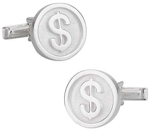 Cuff-Daddy 925 Sterling Silver Dollar Sign Finance Wall Street Cuff Links with Presentation Box (Sign Sterling Silver Dollar)