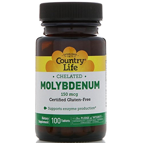 Country Life, Chelated Molybdenum, 150 mcg, 100 Tablets Chelated Molybdenum 100 Tabs