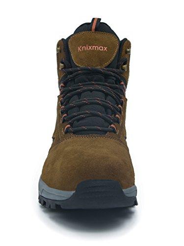 Knixmax Signore Trekking Stivali Scarpe Da Trekking Allaria Aperta Anti Slip Suola Impermeabile Scarpe Da Trekking Trekking Semi Marrone