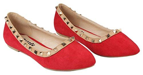 Rivet Designer Clouté / Bout Rond Robe Ballet Chaussures Plates Red_r-faux Daim