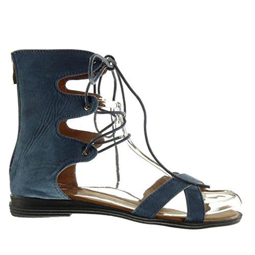 Sandale 2 Bride cm Multi Angkorly Mode Sexy Talon Bleu Brodé Chaussure Femme Bloc SwE6xHqB